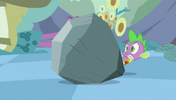 Spike popping up from behind the rock S2E02