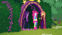 Sunset, Pinkie, and Twi leave neon garden EGSBP