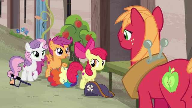 "File:Sweetie Belle and Scootaloo ""we're here, too!"" S7E8.png"