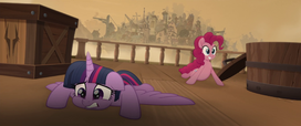 Twilight and Pinkie Pie on the airship deck MLPTM