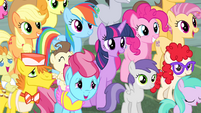 Twilight and friends in Sugarcube Corner crowd S4E14