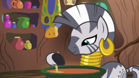 Zecora stirring soup in a cauldron S7E19