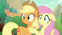 AJ and Fluttershy surprised to see Rain Shine S8E23