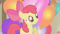 Apple Bloom hiding behind balloons S1E12