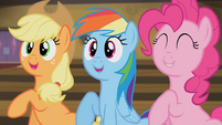 Applejack, Rainbow and Pinkie stomping their hooves S4E08