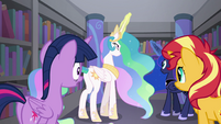 Celestia and Luna in front of a bookshelf EGFF