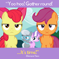 Diamond Tiara and Silver Spoon behind Apple Bloom and Scootaloo promotional S4E15.png