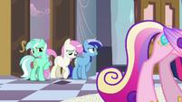 Lyra, Twinkleshine and Minuette behind Cadance S2E25
