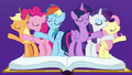 Mane Six singing on the journal pages S7E14.png