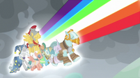 Pillars of Equestria release a rainbow of light S9E25