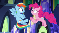 Pinkie Pie jumps while shouting -nothing!- S5E3