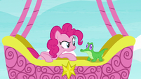 Pinkie Pie staring intently at Gummy S7E11