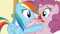 Rainbow Dash pushing Pinkie Pie away S6E15