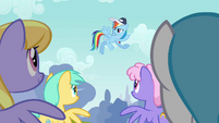 Rainbow Dash speaking to the Pegasi S2E22
