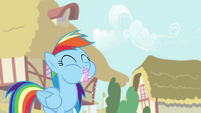 Rainbow eating cupcakes S4E12