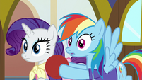 Rarity and Rainbow looking at Smolder S8E17