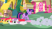 The Cutie Mark Crusaders running past Twilight S01E17