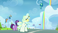 Twilight, Rainbow, and Vapor watching Sky in the air S6E24