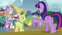 Twilight Sparkle addresses the reporter S7E14
