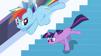 Twilight and Rainbow heading down the stairs S3E2