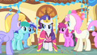 201px-Rarity eyes other ponies suspiciously S01E22