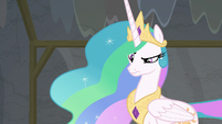Celestia looking skeptical at Twilight S8E7