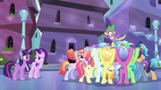 Crystal Ponies cheering for Spike S6E16