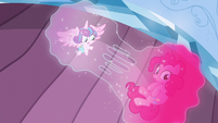 Flurry Heart and Pinkie's bubble being split S6E1