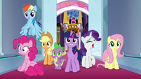 Mane Six and Spike arrive to throne room S9E1