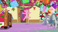 Pinkie Pie bursts out of pile of presents MLPBGE