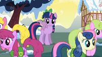 Ponies walk away from Twilight S1E11 (1)