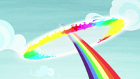 Rainbow Dash flies off with a sonic rainboom S8E7