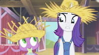 Rarity and Spike looking repulsed S4E13