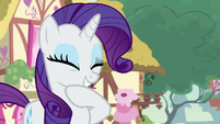 Rarity giddy over her secret surprise S7E9