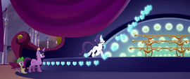Rarity magically hangs crystal decorations MLPTM