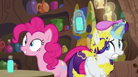 Rarity nervously listens to Zecora's story S7E19