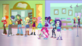 Sunset Shimmer and friends waiting in line together EGDS2.png