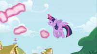 Twilight Sparkle flying up to Rainbow Dash S4E21