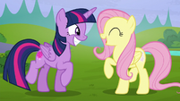 Twilight and Fluttershy smiling wide S5E23