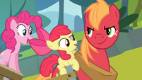 Apple Bloom singing while Big McIntosh is smiling S4E09