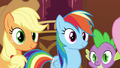 Applejack Rainbow and Spike smiling at Pinkie S3E3.png