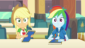 Applejack and Rainbow Dash looking at Rarity EGDS4.png