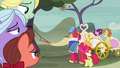 Big Mac and Apple Bloom watch Sugar Belle and Feather ride away S7E8.png