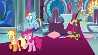 Discord hops out of his bed of pillows S9E2