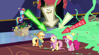 Discord pointing arrows at Fluttershy MLPBGE