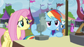 Fluttershy and RD return to Discord lamp stall S4E22.png
