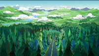Legend of Everfree background asset - wooded highway 1