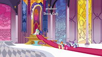 Mane Six, Starlight, Spike, and Sunburst in the princesses' throne room S7E25