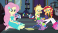 Notebook lands in front of Fluttershy and Spike EGDS6.png