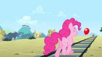 Pinkie trotting towards the balloon S4E11